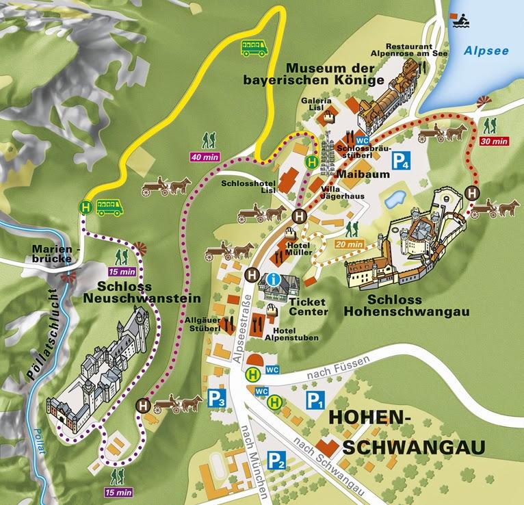 Plano para llegar a Neuschwanstein. El castillo del rey loco