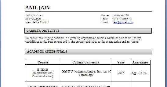 Electronics and Communication Engineering Resume Samples for Freshers - freshers resume sample