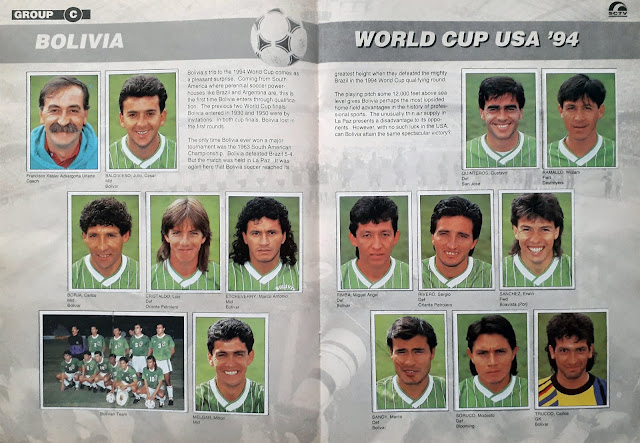 WORLD CUP USA '94 STICKER ALBUM COLLECTION GROUP C BOLIVIA