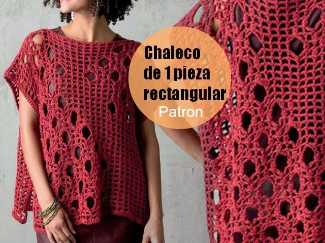 chaleco, rectangular, chaleco una sola pieza, mujer, crochet