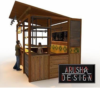 gambar booth design for coffee shop 3 view - jasa design