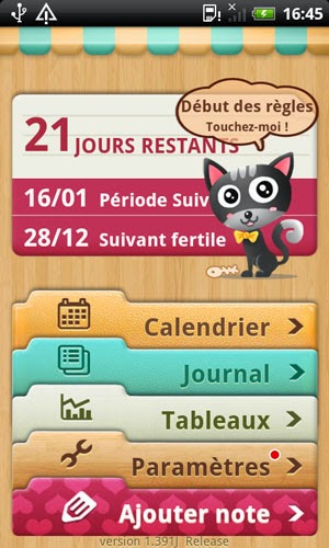 application smartphone calendrier periode