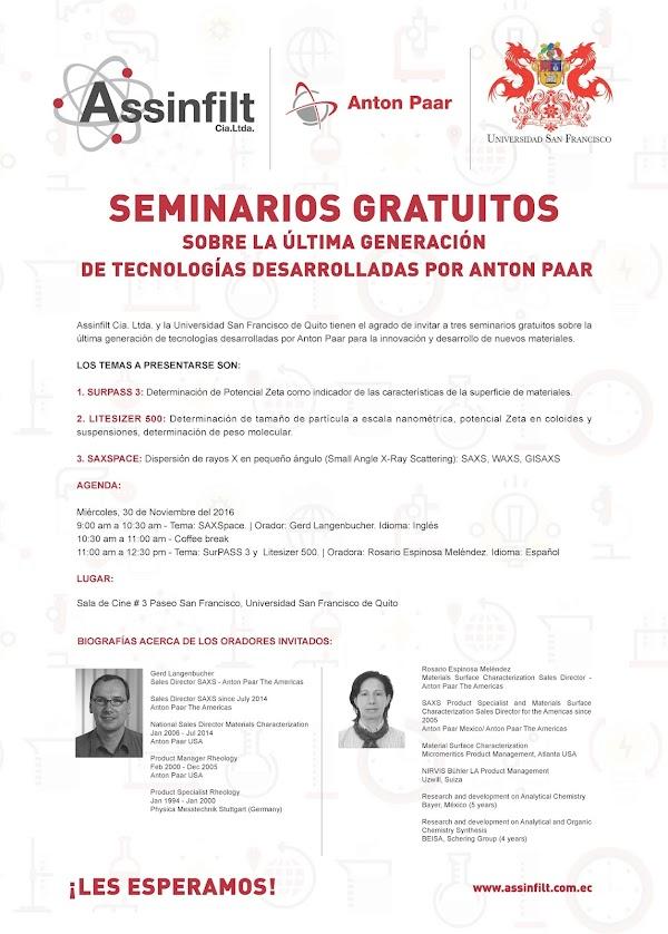 Seminarios gratuitos sobre la última generación de tecnologías desarrolladas por Anton Paar