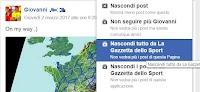 Ordinare le notizie Facebook