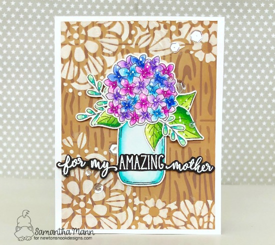An Amazing Mother's Day Card by Samantha Mann | Lovely Blooms Stamp Set, Simply Relative Stamp Set, Hardwood Stencil and Floral Lace Stencil by Newton's Nook Designs #newtonsnook #handmade
