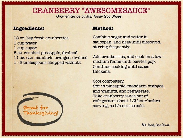 "Cranberry ""Awesomesauce"" by Ms. Toody Goo Shoes - an easy Thanksgiving side dish"