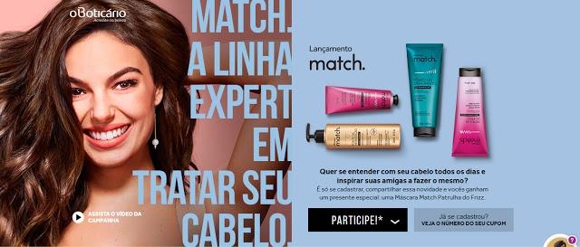 Promoção Match O Boticário - Ganhe uma Máscara Patrulha do Frizz