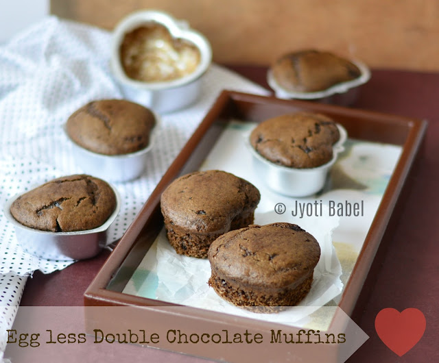 Eggless Double Chocolate Muffins | Made with wholewheat flour this is quite a healthy recipe and it tastes awesome | www.jyotibabel.com | how to make eggless double chocolate muffins from scratch