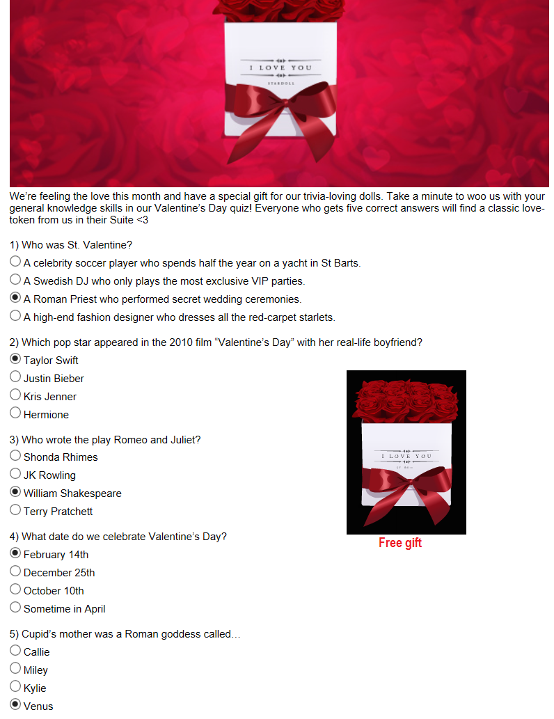NEW Valentine's Quiz | Stardoll's Most Wanted