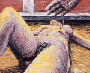 Cuadro pintado por Aute, muestra una mujer desnuda tendida e un rueo con una herida en un costado