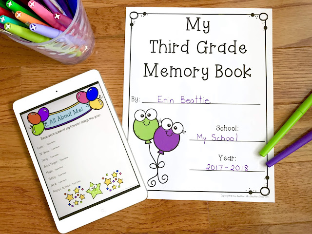 Image of pages from the print and digital school year memory book.