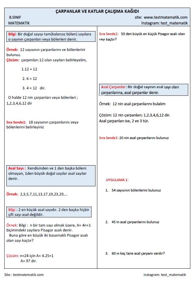 Carpanlar Ve Katlar Calisma Kagidi Test Matematik