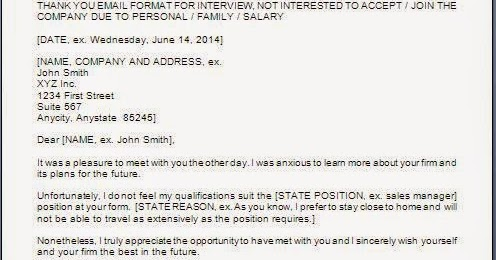 Thank You Letter With Denying Job Offer
