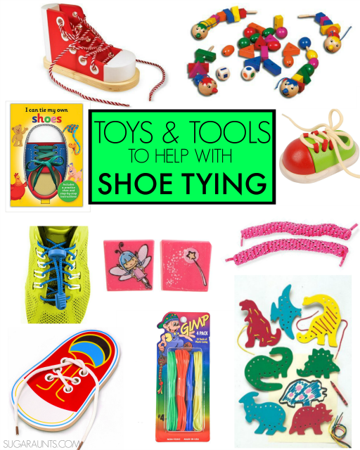 SHoe tying tips and tools for helping kids learn to tie their shoes. Tips from an Occupational Therapist