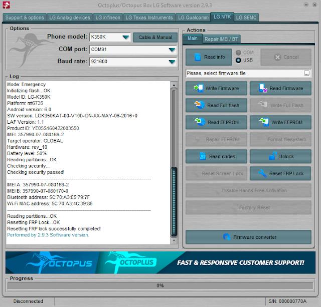 Cara Bypass FRP LG K8 LTE K350K dengan octoplus box tested