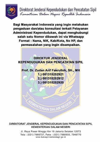 Nomor WhatsApp Layanan Pengaduan/Pertanyaan Dokumen Kependudukan Ditjen Dukcapil Kemendagri