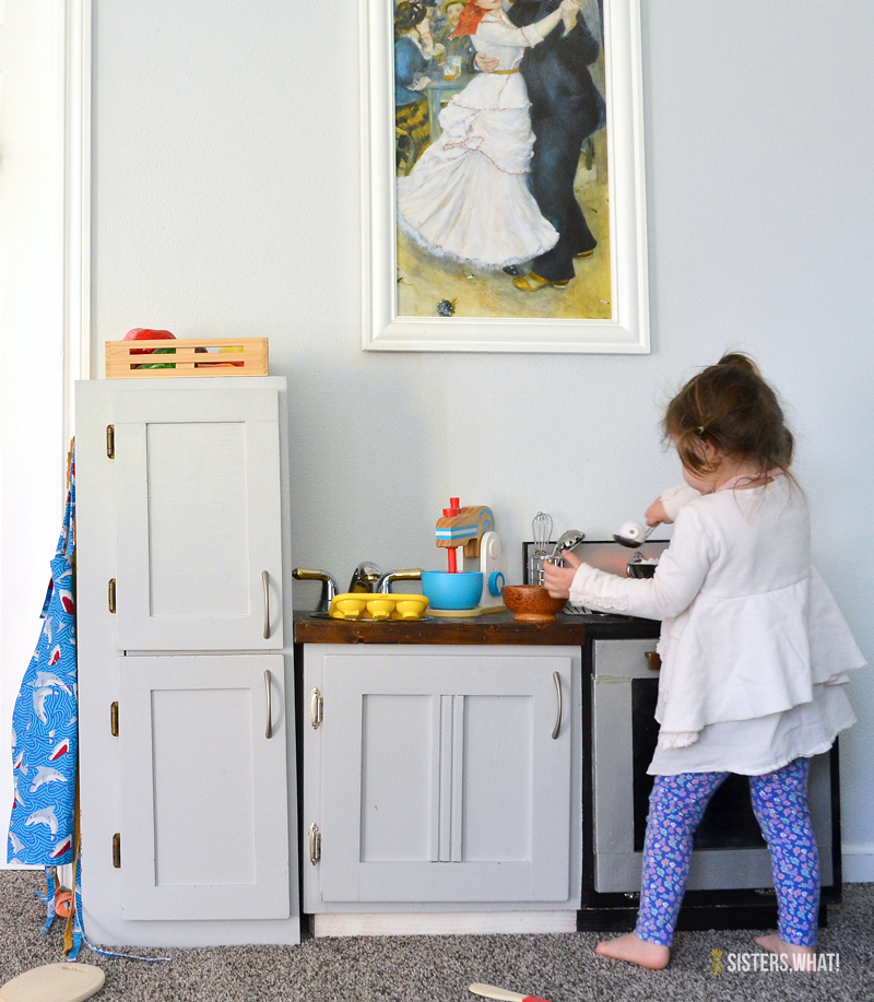 a diy play kitchen in living room