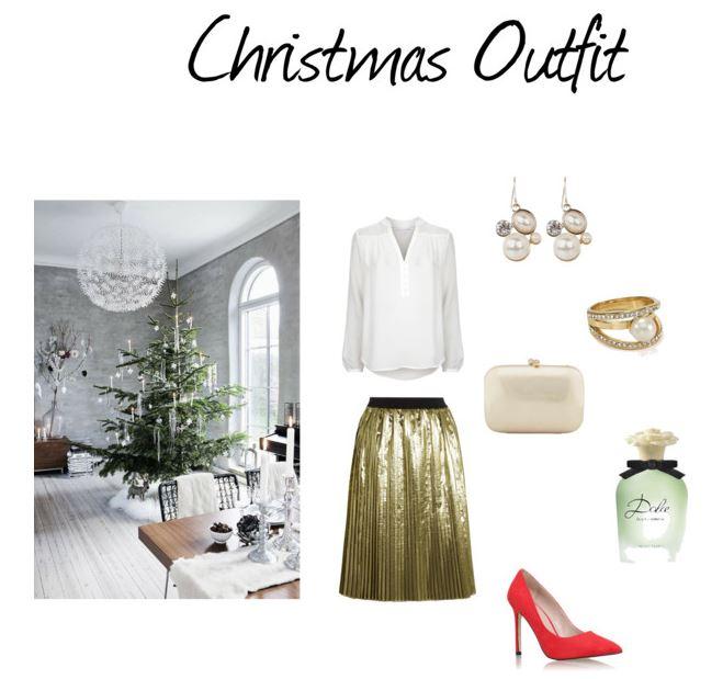 Świąteczny zestaw z metaliczną spódnicą, strój na święta, blog modowy, stylizacje