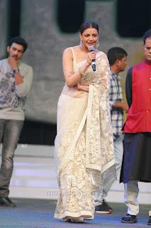 Kajal Aggarwal In Beautiful Designer Saree at Khiladi 150 Meet (19).jpg