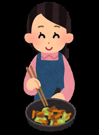 野菜炒めを作っている人のイラスト