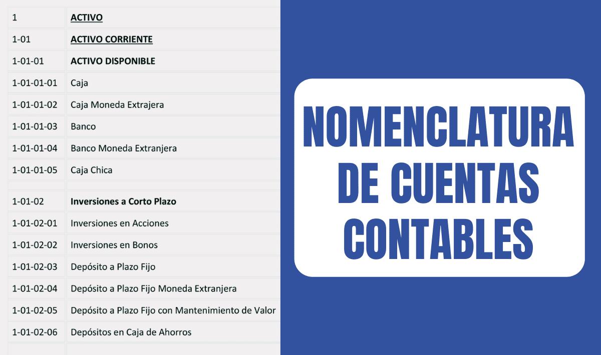 nomenclatura de cuentas contables
