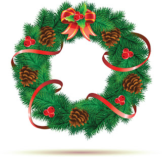Clipart image of a Christmas wreath
