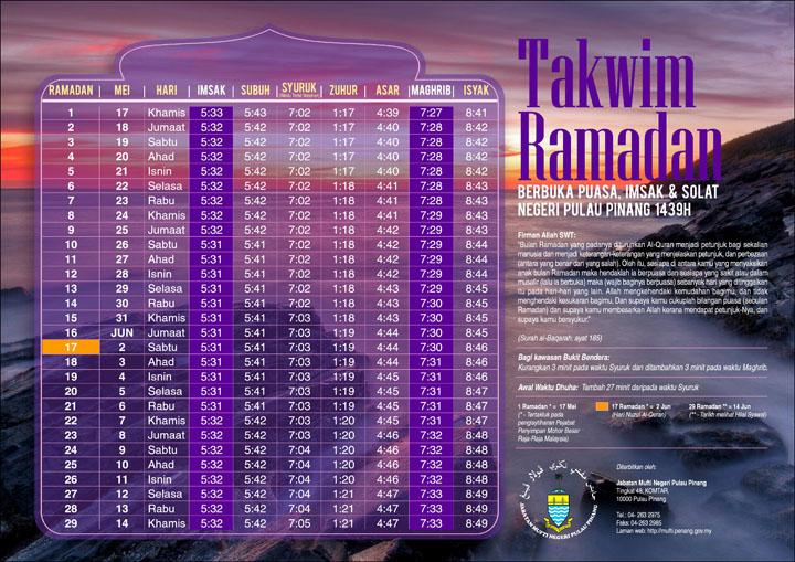Jadual Waktu Imsak - Buka Puasa 1439H Negeri Pulau Pinang