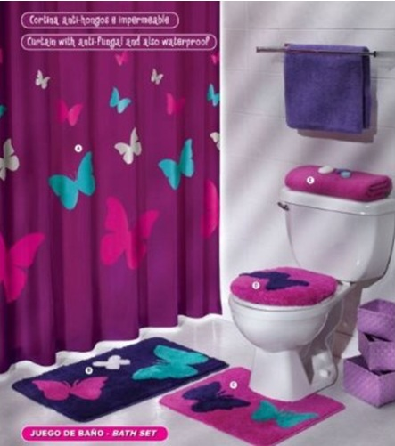 Bathroom with butterfly decoration bath set bathrooms design for Bathroom decor ideas for girls