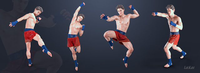 Lee 8 Muay Thai Poses