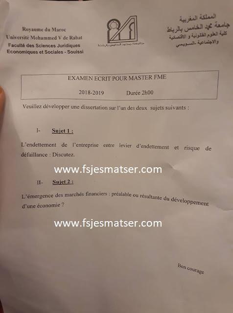 Exemple Concours Master finances de marchés et de l'entreprise (FME) 2018-2019 - Fsjes Souissi