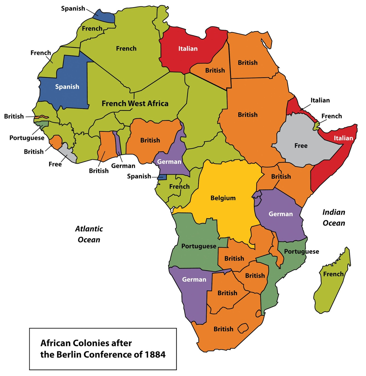 African colonies after the Berlin conference of 1884