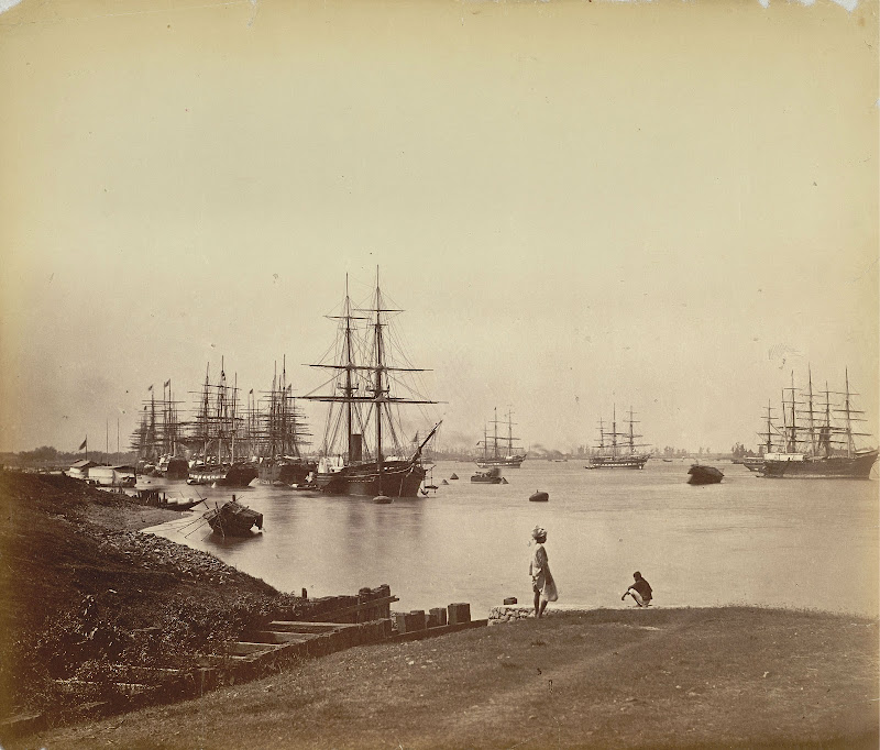 View of ships on the Hooghly River - Calcutta (Kolkata) c1870's
