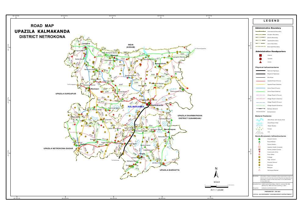 Kalmakanda Upazila Road Map Netrokona District Bangladesh