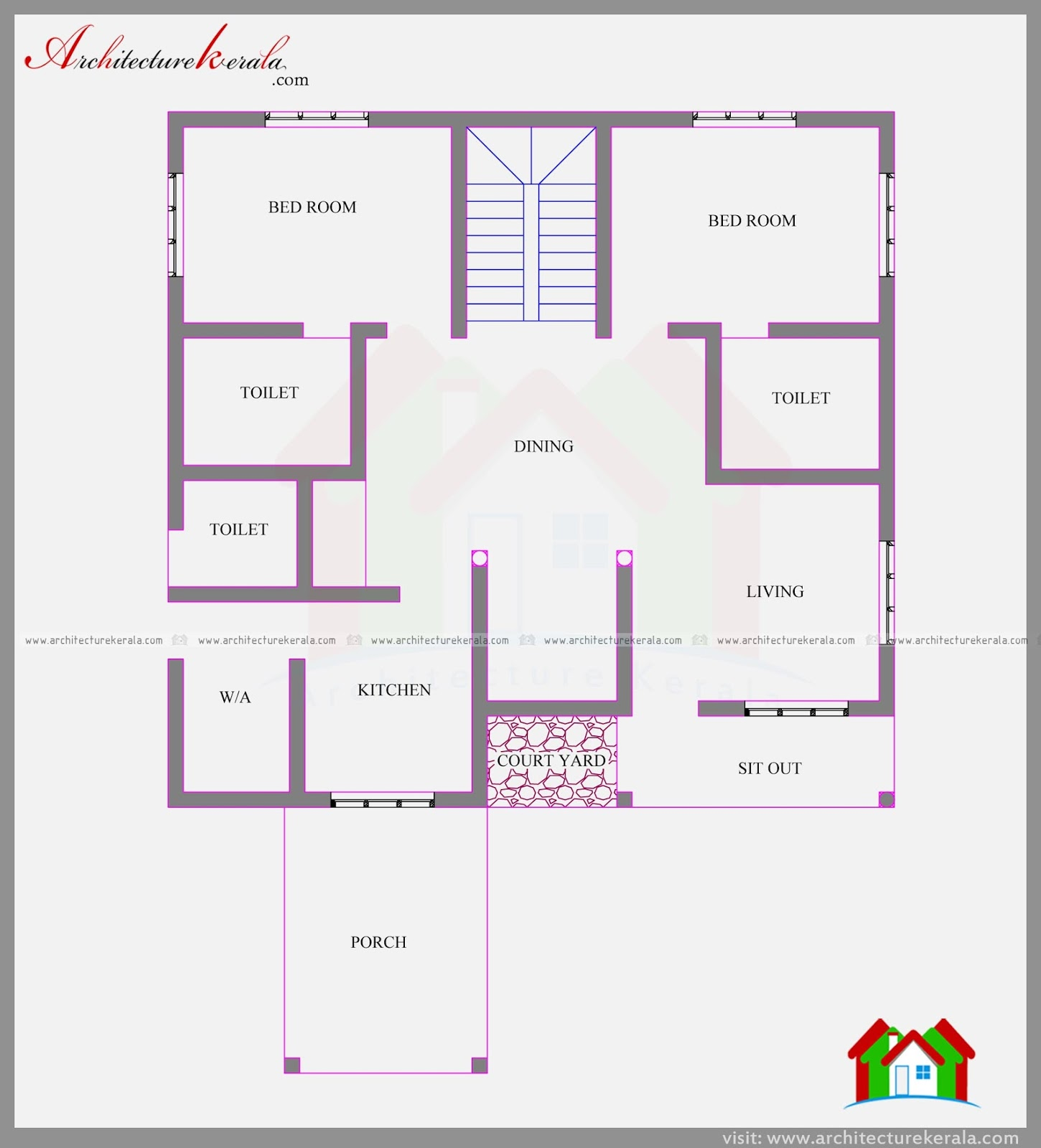 4 bedroom lovely two storied kerala home plan in 2282 sq for Kerala two bedroom house plans