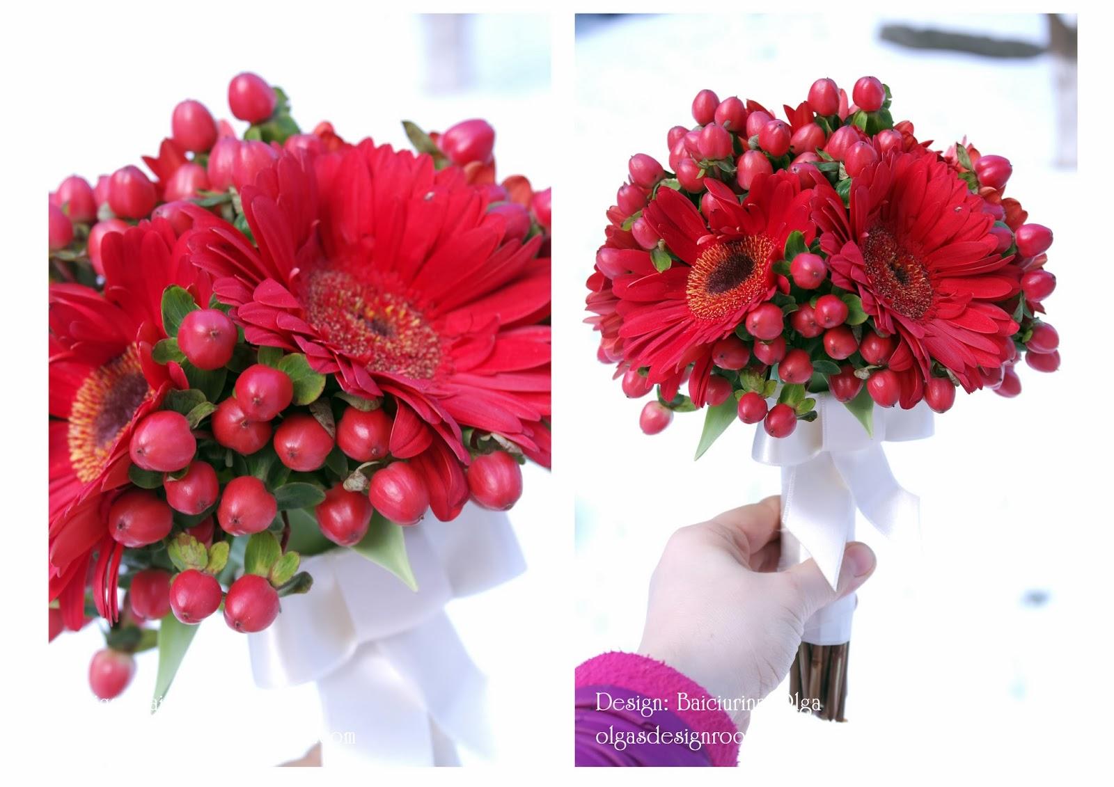 Red GerberaampHipericum wedding bouquet Красный свадебный