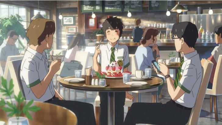 「三葉てめえ、ばか高いケーキとかドカ喰いしてんじゃねえよ!。司たちが引いているだろう」の図(2)  口を閉じて、モグモグしている場面