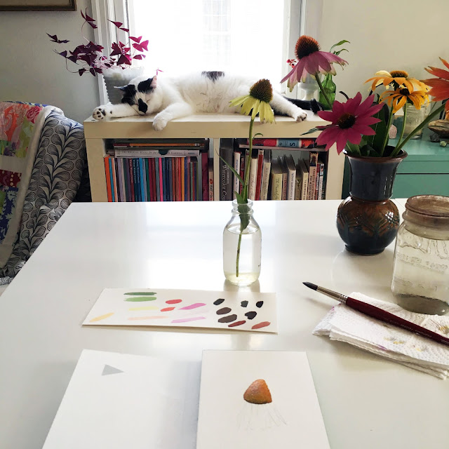 studio, watercolor, art studio, botanical painting, studio cat, Anne Butera, My Giant Strawberry