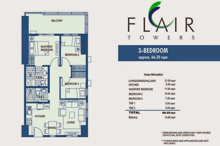 Flair Towers 3 Bedroom Unit 66.50 sqm.