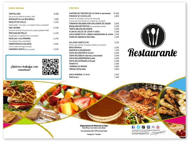 Ejemeplo de codigo qr en carta de restaurante