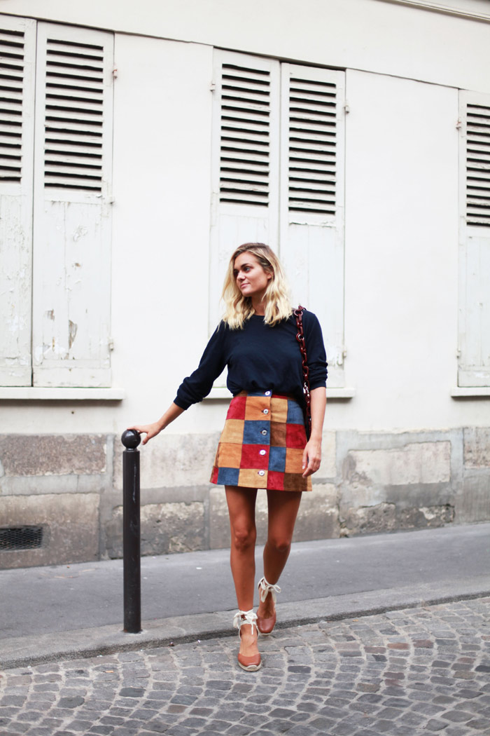 Adenorah - Patchwork A Line Suede Button Skirt