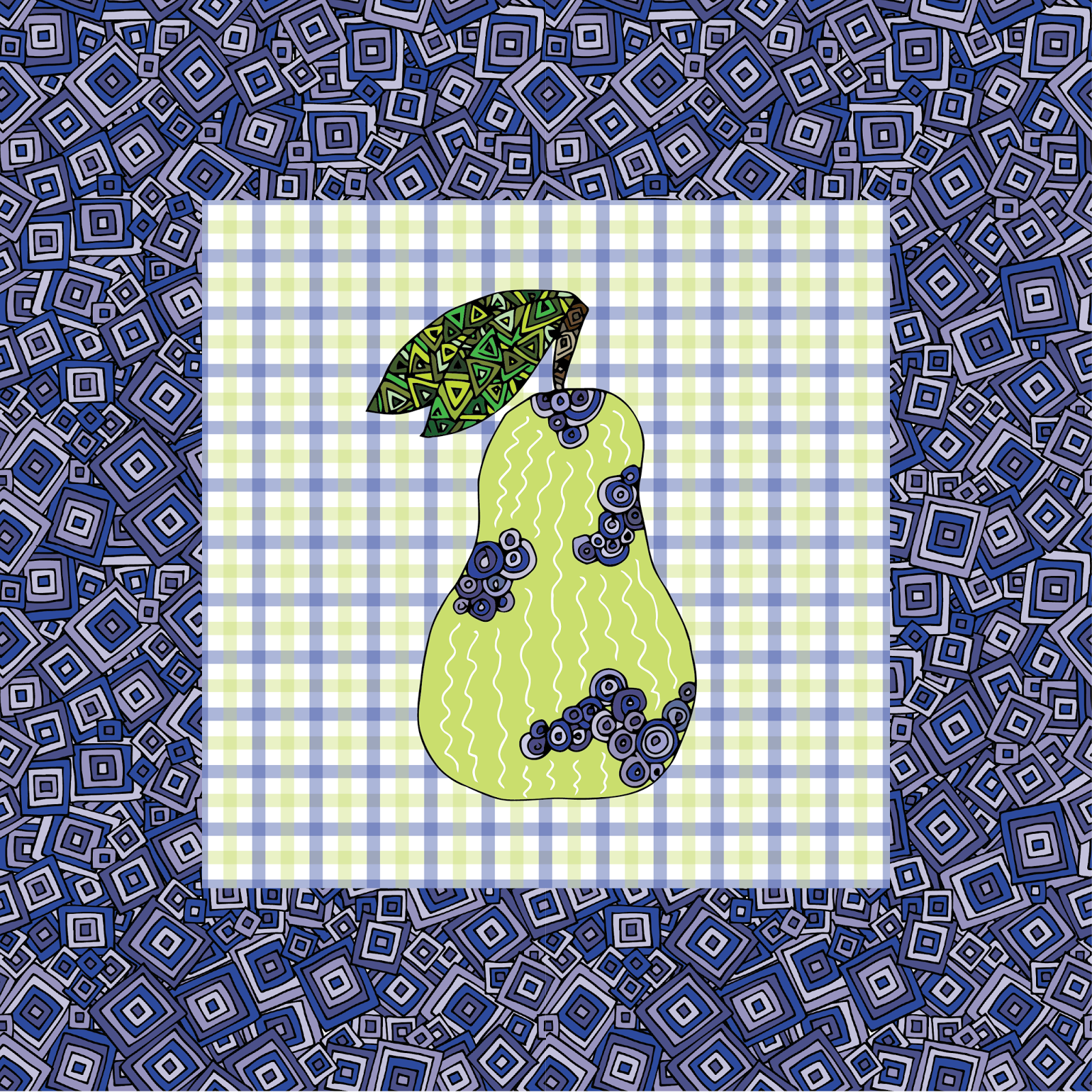 Country Gingham Pear Print