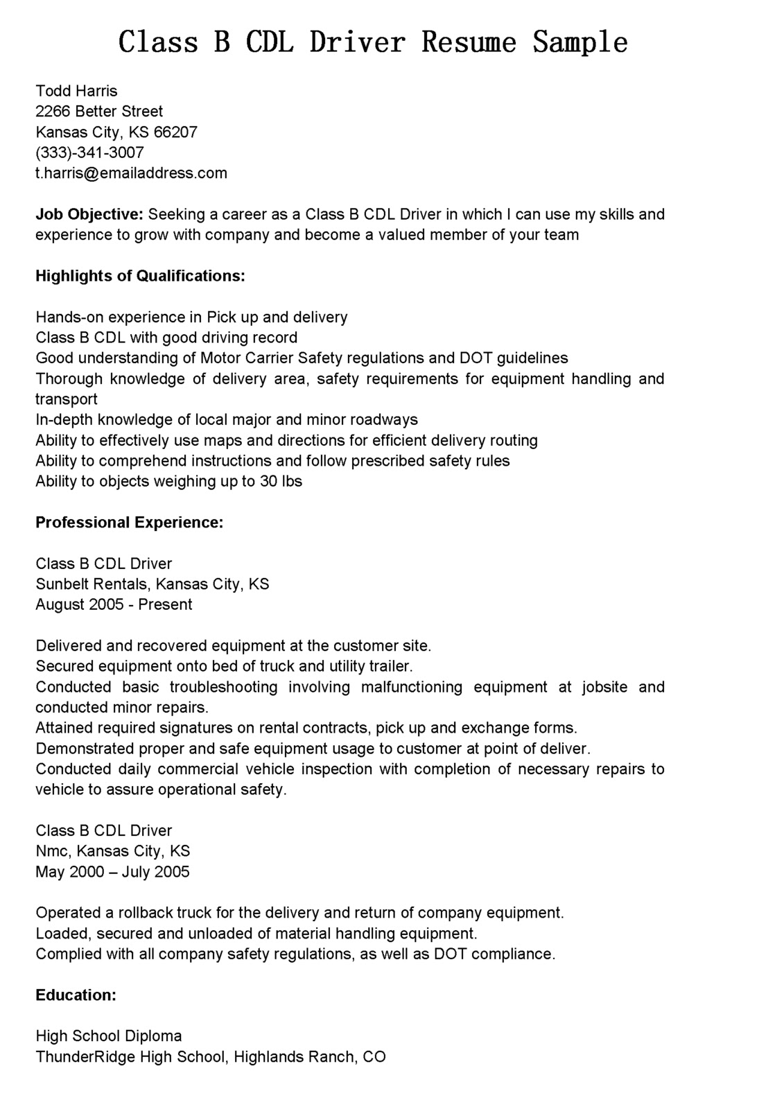 Truck driver resume example.