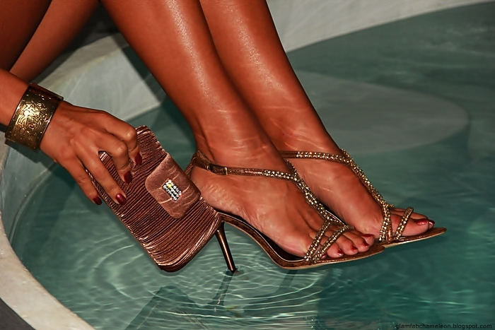 bronze crystal sandals and satin clutch copper nails