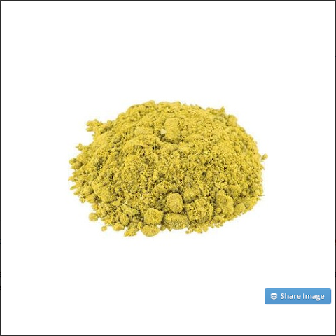 Hop hash is a concentration of lupulin glands; meaning it contains a lot more of the good stuff, without all the vegetal mass. Very high in both acids and oils (16-32% AA / 2.8-4.5 ml/100g), this product packs a punch with a huge hop presence and a reduced green/grassy character.