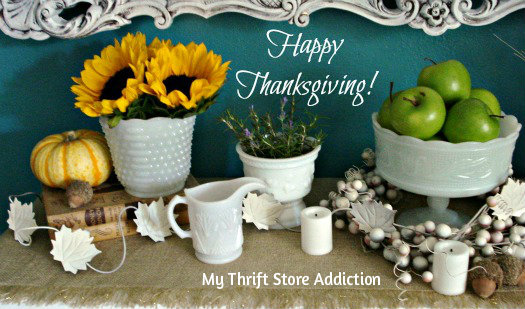 Happy Thanksgiving ~ A Coupon and Shop in Your Pajamas mythriftstoreaddiction.blogspot.com Autumn harvest mantel and Thanksgiving greeting