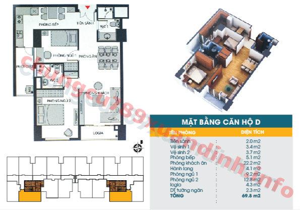 Thiết kế căn hộ 69.8m2 Chung cư 789 Xuân Đỉnh