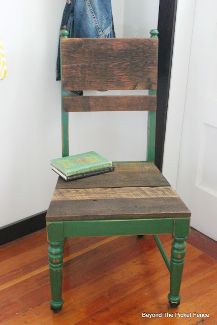 Upcycle an old chair with paint and barn wood
