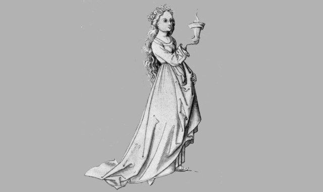 junge Frau mit Licht-Jungfer Gedicht