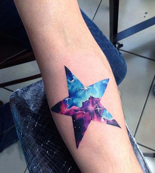forearm watercolor galaxy star tattoo galaksi yıldız dövmesi