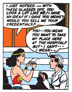 Sensation Comics (1941) #1 Page 8 Panel 3: Diana proposes changing places with Diana Prince so they can both be near the man they love (national security be damned).